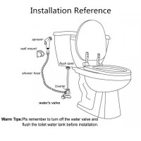 Round Toilet Bidet Spray Diverter Wash Kit with 1.2m Stainless Steel Water Hose