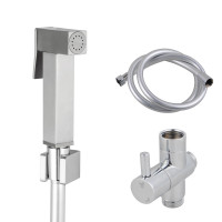Square Brass Brushed Nickel Toilet Bidet Spray Wash Kit Diverter Set with 1.2m PVC Hose