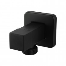 Laundry Square Black Bathroom square 1/4 turn washing machine stop tap Wall Mounted Solid Brass