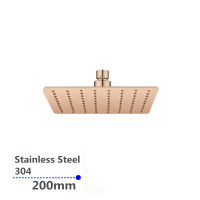 "200mm 8"" Stainless Steel 304 Rose Gold Super-slim Square Rainfall Shower Head"