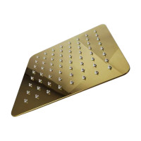 "200mm 8"" Stainless Steel 304 Yellow Gold Super-slim Square Rainfall Shower Head"