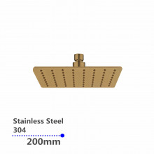 """200mm 8"""" Stainless Steel 304 Yellow Gold Super-slim Square Rainfall Shower Head"""