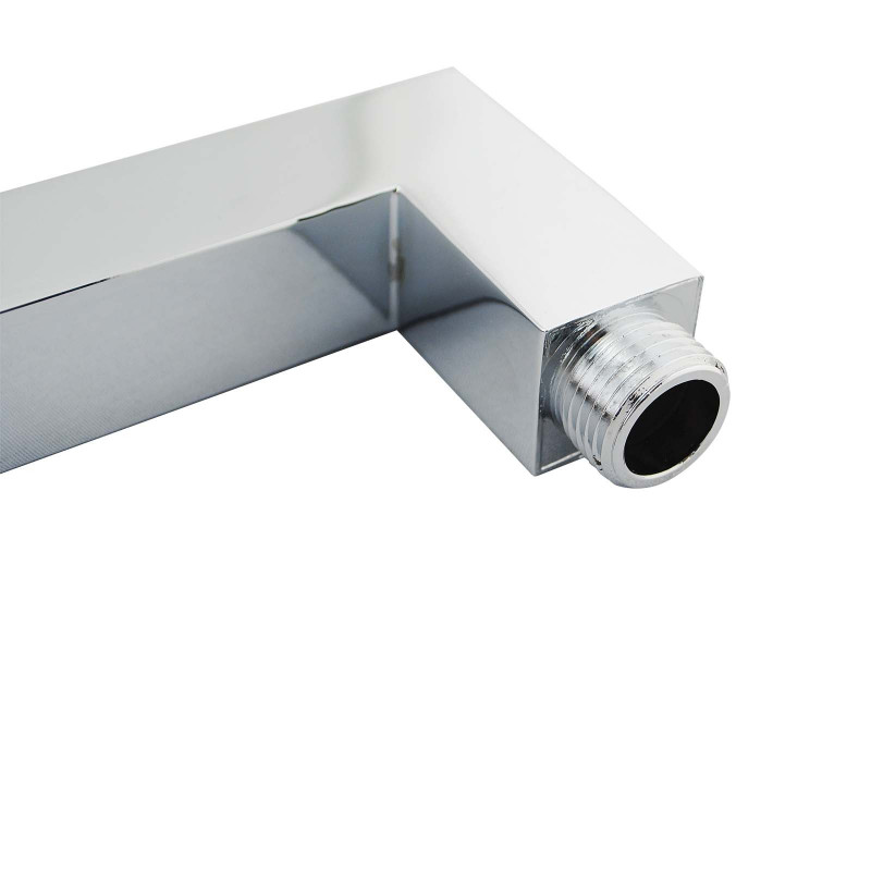 Square Chrome Brass Wall Mounted Shower Arm 400mm SS0104