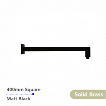 400mm Square Nero Black Wall Mounted Shower Arm Solid Brass