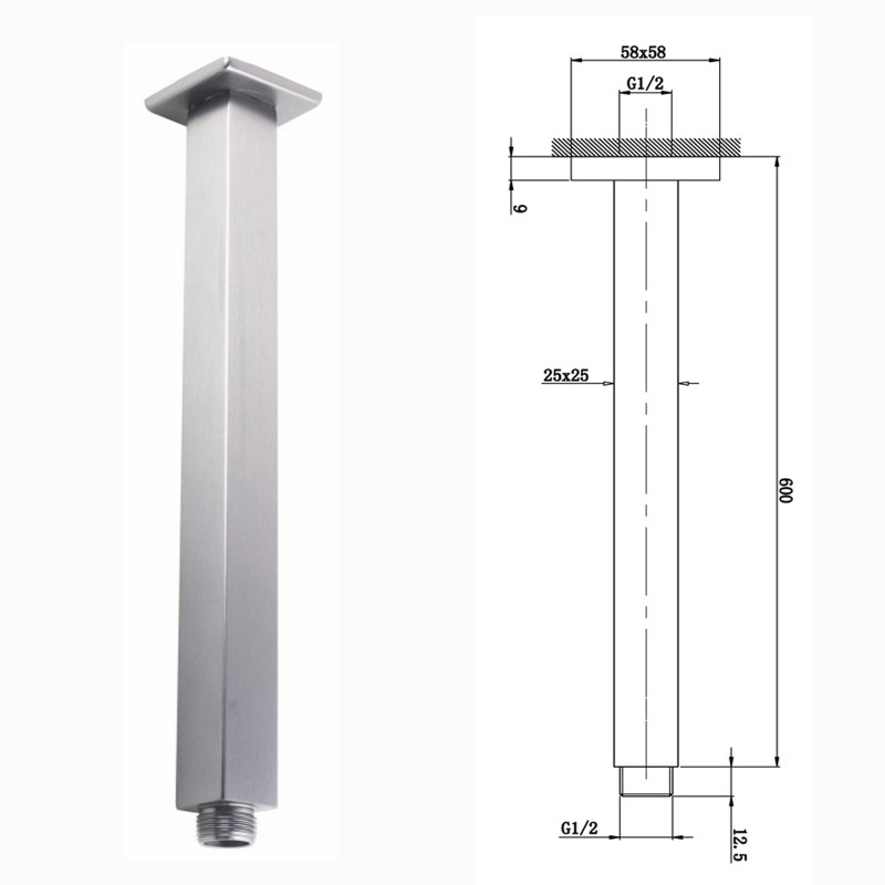 """300mm 12"""" square chrome rainfall shower head solid brass & stainless steel SS0133"""