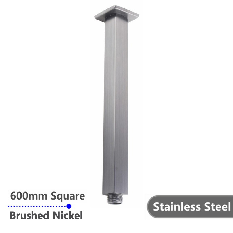 Square Brushed Nickel Ceiling Shower Arm 600mm Stainless Steel SS0106BU
