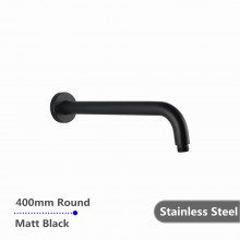 400mm Shower Arm Round Black Stainless Steel 304 Wall Mounted