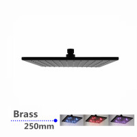 "250mm 10"" Solid Brass Black Square Nero LED Rainfall Shower Head"