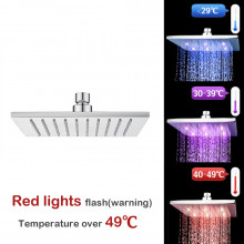 """250mm 10"""" Solid Brass Square Chrome LED Rainfall Shower Head"""