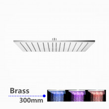 """300mm 12"""" Solid Brass Square Chrome LED Rainfall Shower Head"""