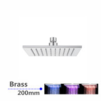 "200mm 8"" Solid Brass Square Chrome LED Rainfall Shower Head"