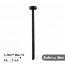 600mm Ceiling Shower Arm Stainless Steel 304 Round Black