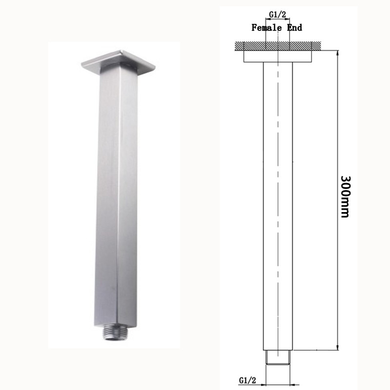 """250mm 10"""" square chrome rainfall shower head solid brass & stainless steel SS0135"""