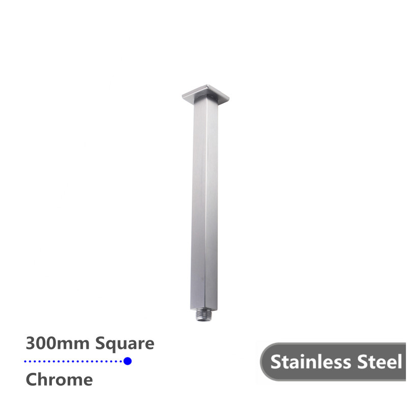 square chrome ceiling shower arm 300mm stainless steel SS0126