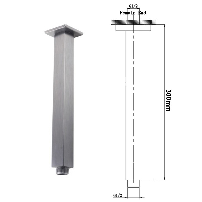 """250mm 10"""" Stainless Steel 304 Brushed Super-slim Square Rainfall Shower Head SS0002BU"""