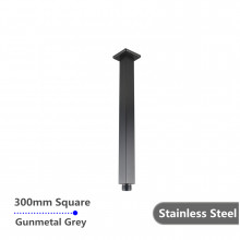 300mm Ceiling Shower Arm Square Gunmetal Grey Stainless Steel 304