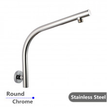 Round Chrome Goose-neck Wall Mounted Shower Arm Stainless Steel 304