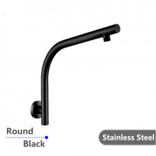 Round Black Goose-neck Wall Mounted Shower Arm Stainless Steel 304