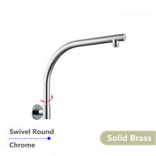 Swivel Wall Mounted Shower Arm Round Chrome Gooseneck Solid Brass