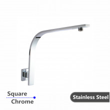 Gooseneck Wall Shower Arm Square Chrome Stainless Steel 304