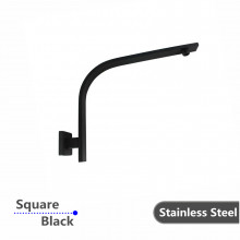 Gooseneck Wall Shower Arm Square Nero Black Stainless Steel 304