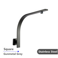 Gooseneck Shower Arm Wall Mounted Square Gunmetal Grey Stainless Steel 304