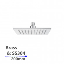 """200mm 8""""  Square Chrome Rainfall Shower Head Solid Brass & Stainless Steel"""