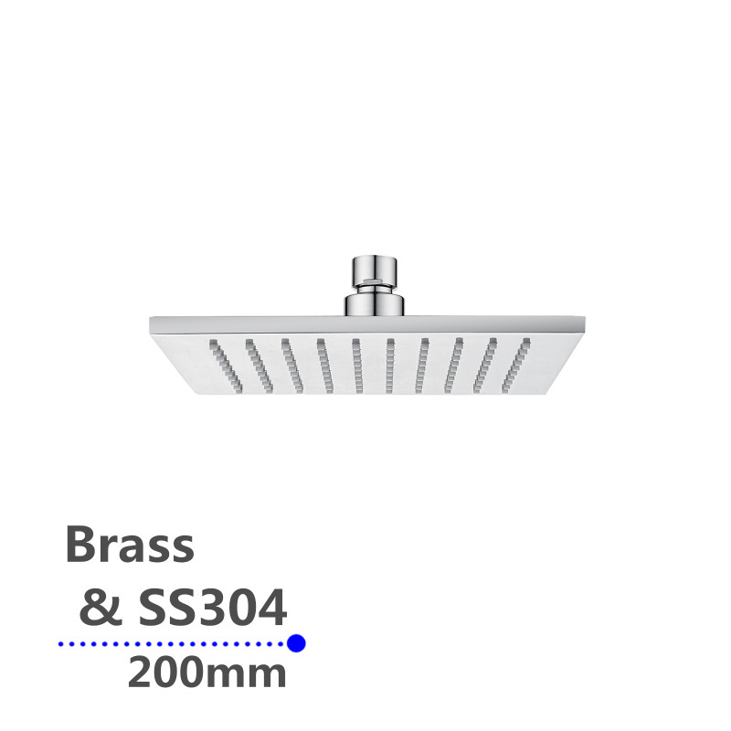 """200mm 8""""  square chrome rainfall shower head solid brass & stainless steel SS0134"""