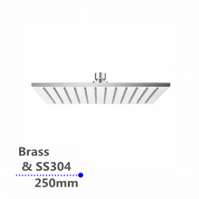 """250mm 10"""" Square Chrome Rainfall Shower Head Solid Brass & Stainless Steel"""