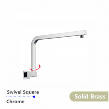 Swivel Chrome Wall Mounted Shower Arm Nero Square Solid Brass