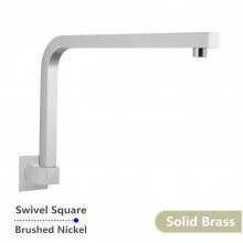 Swivel Brushed Nickel Wall Mounted Shower Arm Square Solid Brass