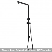 Right Angle Round Matt Black Twin Shower Rail Top Water Inlet