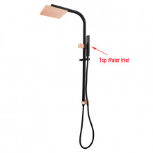 8 inch 200mm Square Black & Rose Gold Twin Shower Station Top Water Inlet