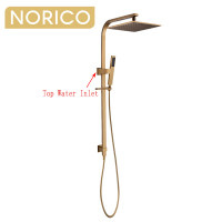 Norico Esperia 10 inch 250mm Square Brushed Yellow Gold Twin Shower Station Top Water Inlet