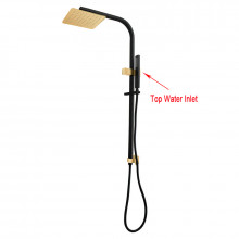 8 inch 200mm Square Black & Yellow Gold Twin Shower Station Top Water Inlet