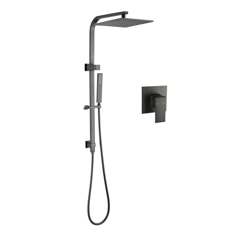 10 inch Square Gunmetal Grey Twin Shower Station Top Water Inlet SS2130GMG