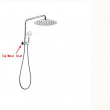 8 inch 300mm Height Round Chrome Twin Shower Station Top Water Inlet with 3 Functions Handheld