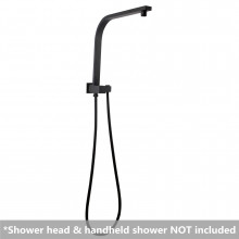 Square Matt Black Top Water Inlet Twin Shower Rail With Built-In Diverter