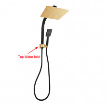 8 inch 200mm Square Black & Yellow Gold Twin Shower Station Top Water Inlet 3 Functions Handheld