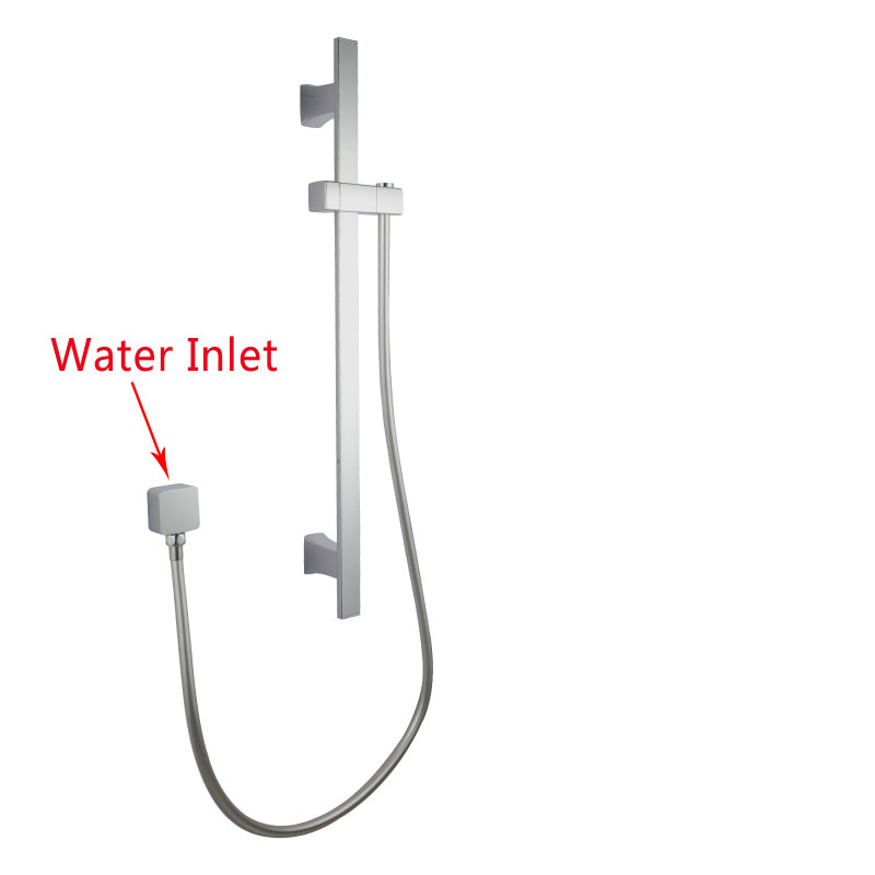 square chrome wall mounted sliding rail with water hose & wall connector only SS2145-N