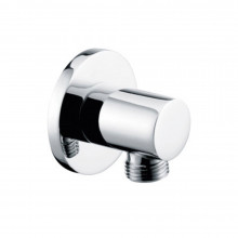 Water Inlet Shower Wall Elbow Round Brass Connector Connection Water Hose Inlet Chrome Finish