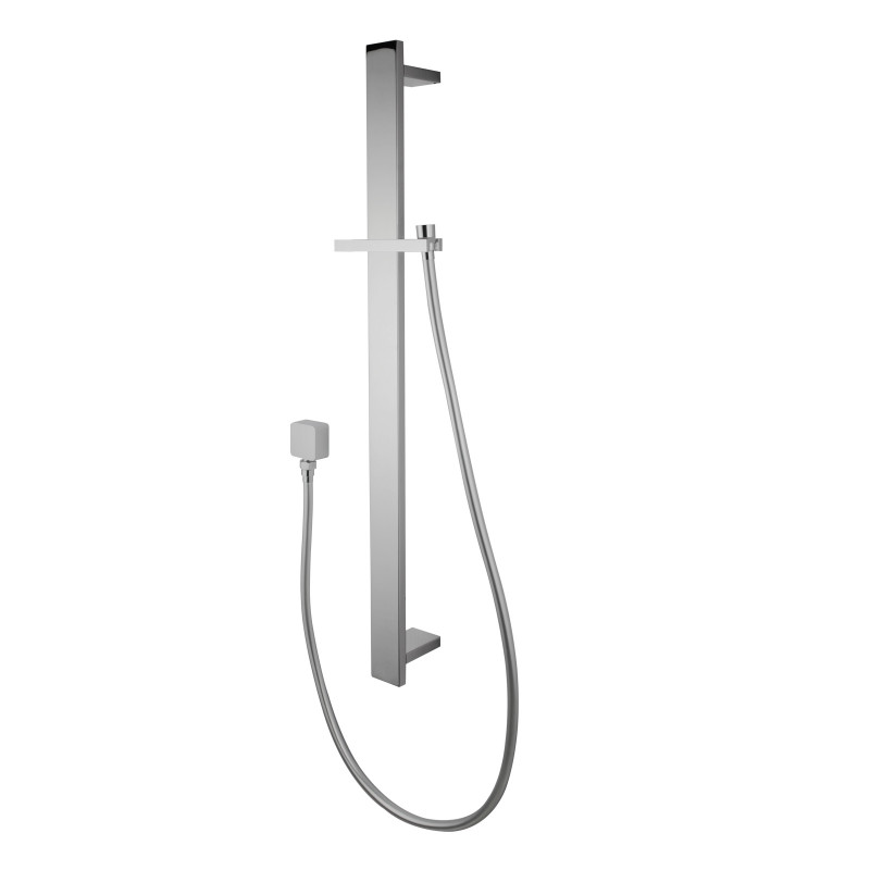 Square Chrome Sliding Shower Rail with Wall Connector & Water Hose OnlySS2149-N