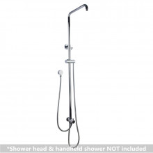 Round Chrome Universal Water Inlet Twin Shower Rail With Diverter