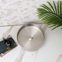 380x380x110mm Handmade Round Stainless Steel Above Counter Basin Brushed Nickel