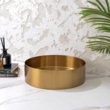 380x380x110mm Handmade Round Stainless Steel Above Counter Basin Brushed Gold
