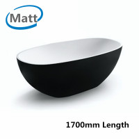 1700x810x590mm Stella Oval Bathtub Freestanding Acrylic Matt Black & Matt White Bath tub NO Overflow