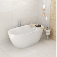 1500x750x590mm Stella Oval Bathtub Freestanding Acrylic Gloss White Bath tub NO Overflow