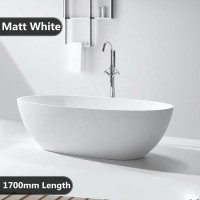 1700x810x590mm Stella Oval Bathtub Freestanding Acrylic MATT White Bath tub NO Overflow