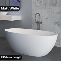 1500x750x590mm Stella Oval Bathtub Freestanding Acrylic MATT White Bath tub NO Overflow
