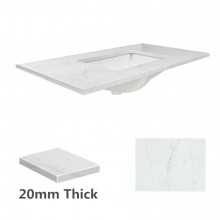 20mm Thick Bianco Twirl/Carrarra Stone Top with Single/Doubl..